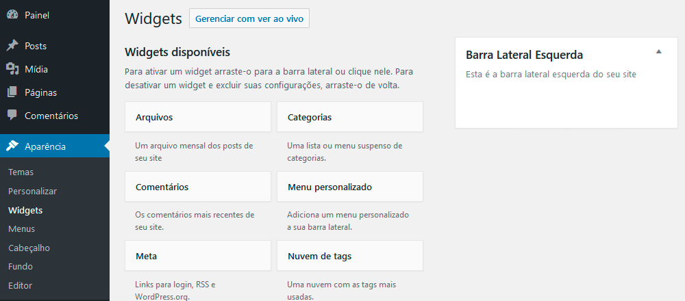 Tela de widgets do WordPress com a área que acabamos de definir
