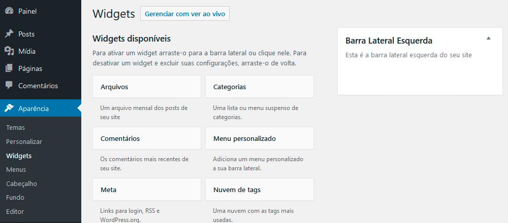 Tela de widgets do WordPress com a área que acabamos de definir