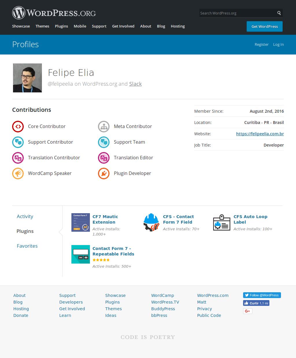 My WordPress.org profile